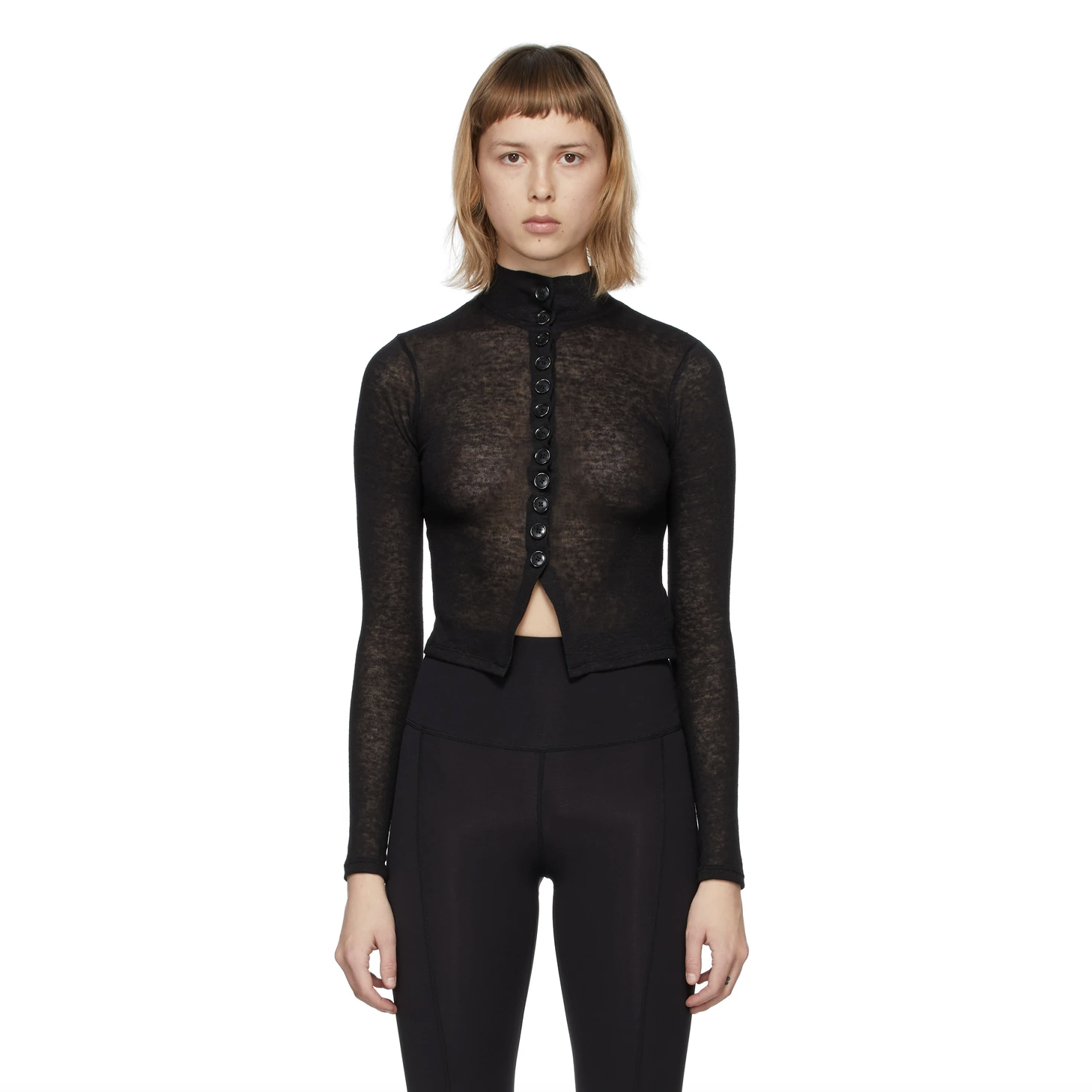 Black Jersey Button-Up Turtleneck