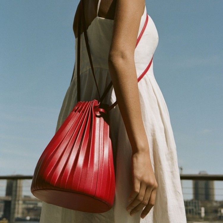 Lamb Pleated Bucket Bag