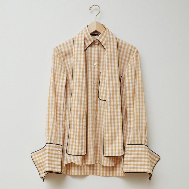 Scarf Collar Gingham Shirt