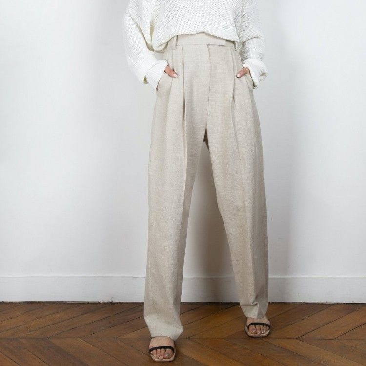 Pleated Linen Blend Pants