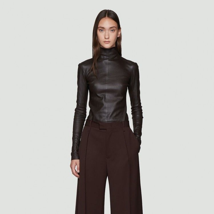 Stretch Leather Top in Brown