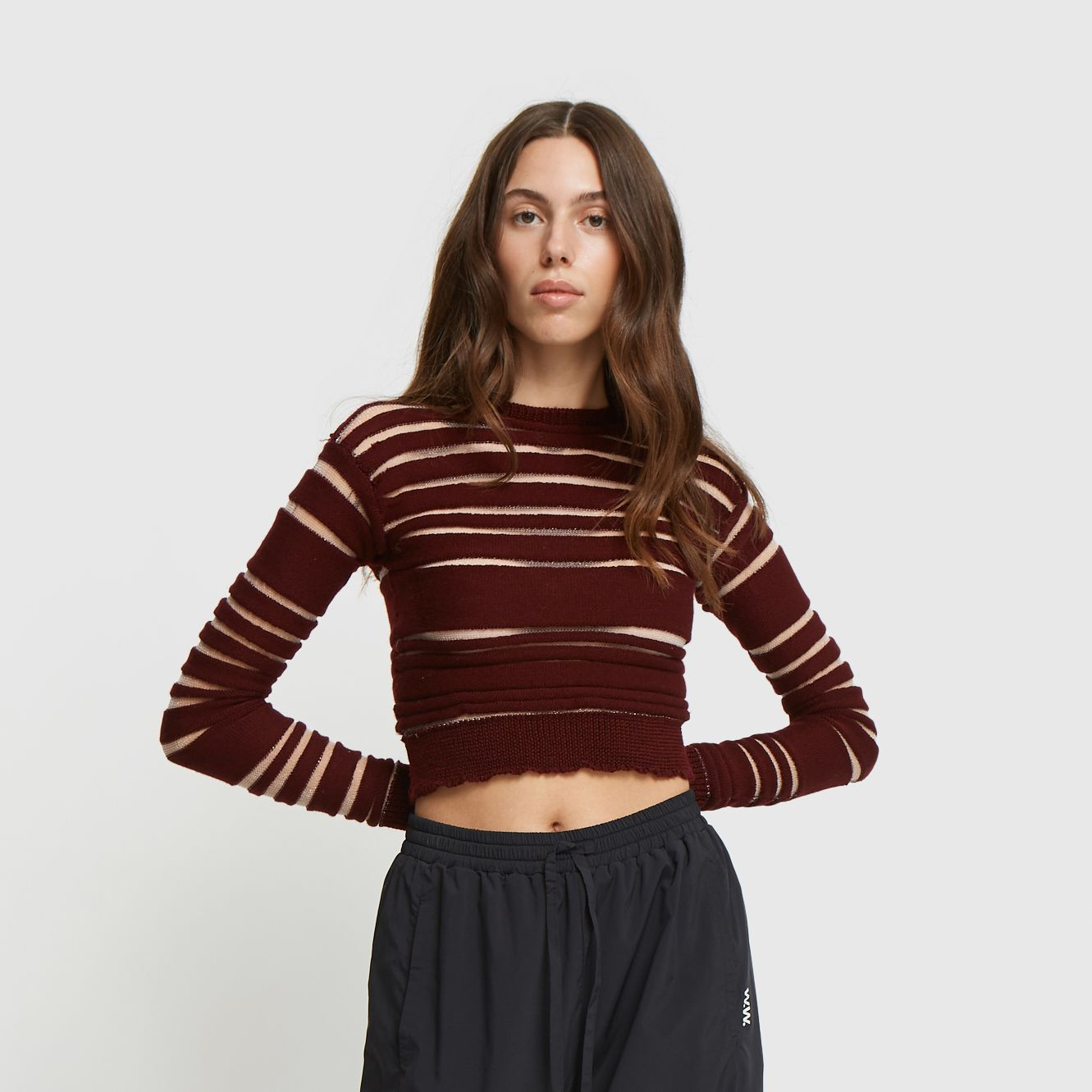 Horizontal striped knit crew