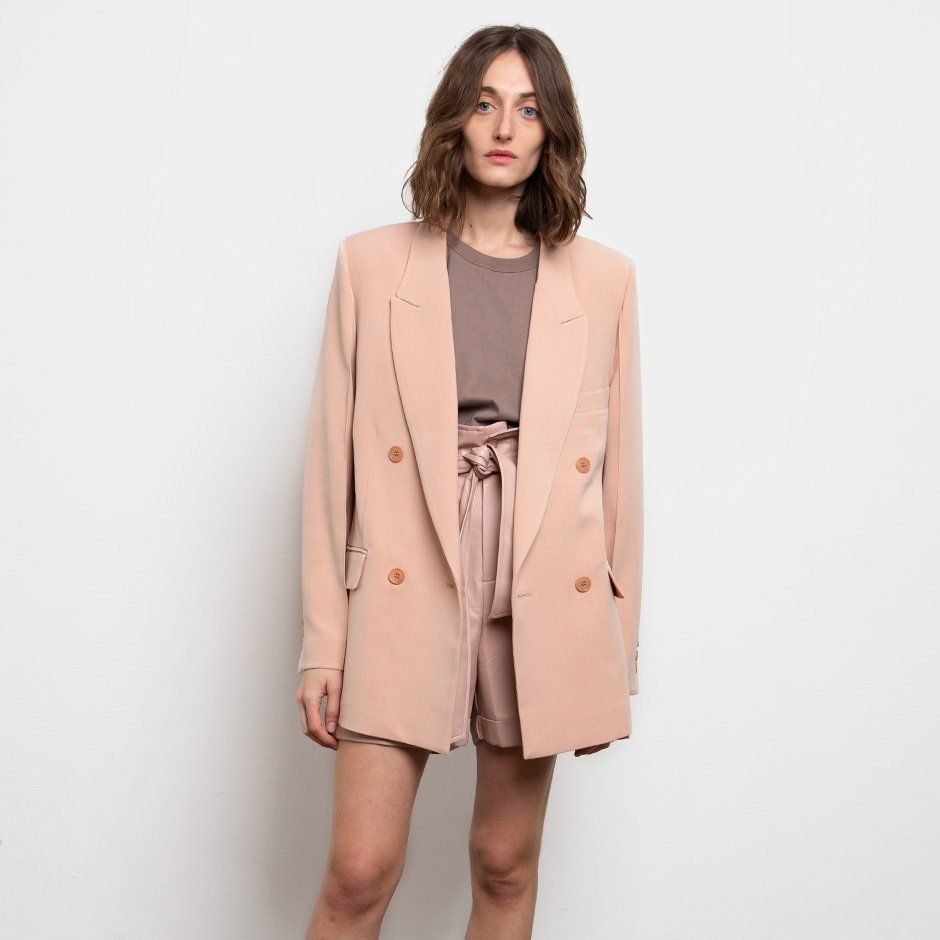 Raised Seam Blazer- Salmon