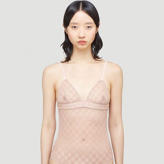 GG Logo Sheer-Lace Bodysuit