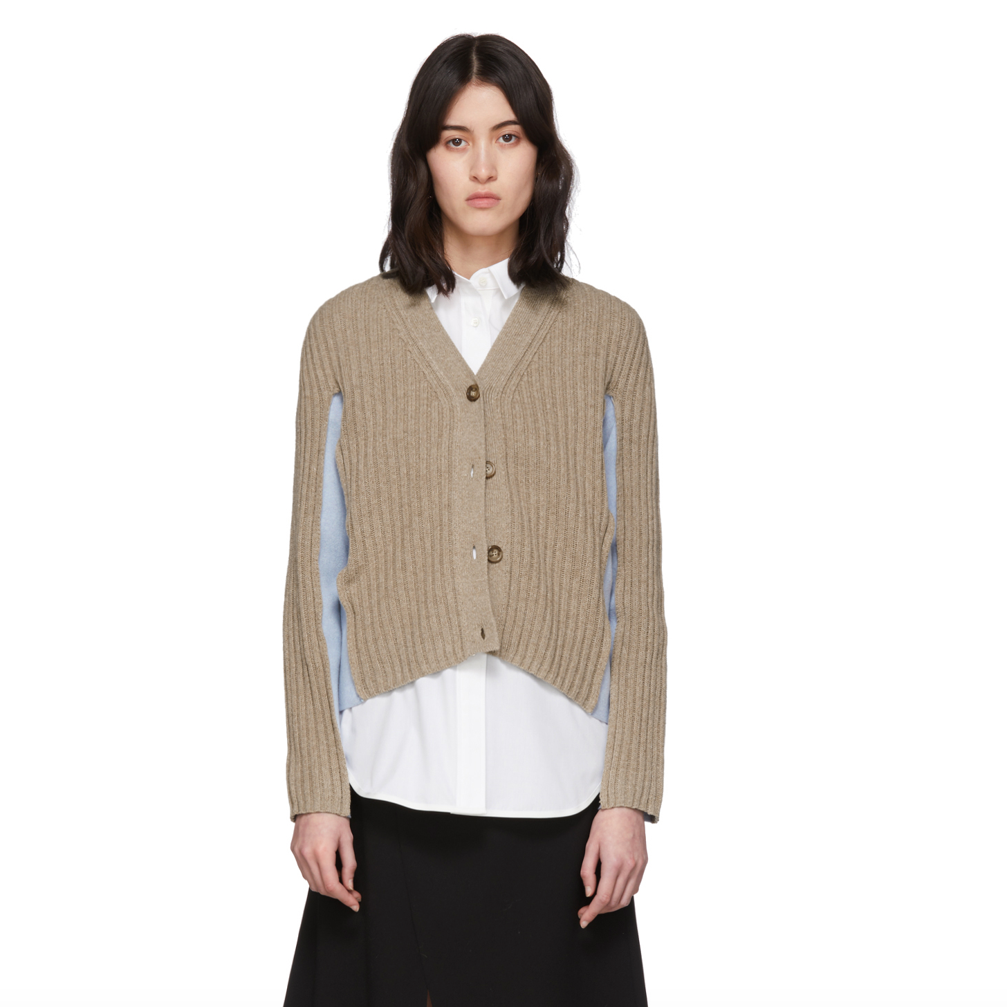 Beige & Blue Shadow Cardigan