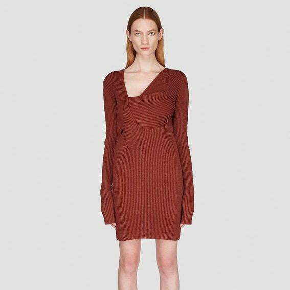 Asymmetric Knit Dress in Brown